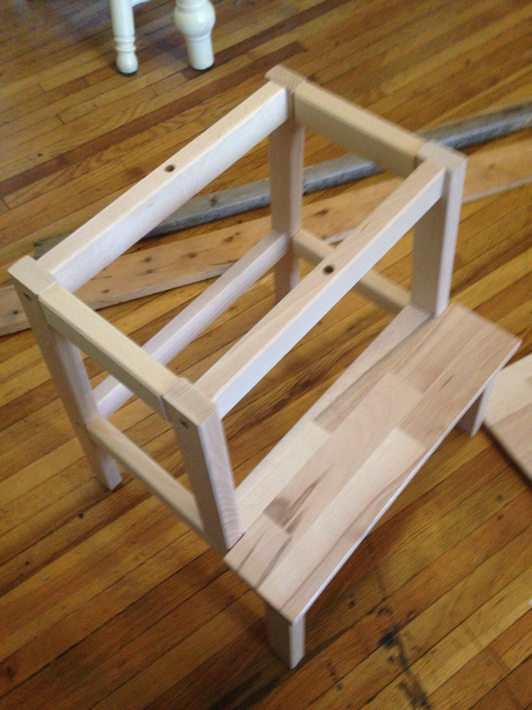 Next, we removed the top platform from the stool.