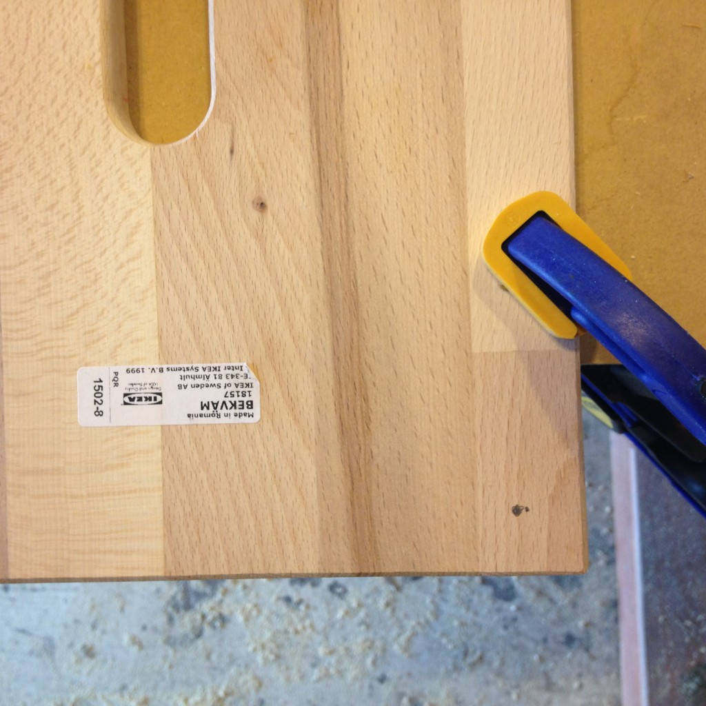 "Drill pilot holes 3/4"" in from the corners of the stool platform. This is where the uprights will get screwed to the platform."