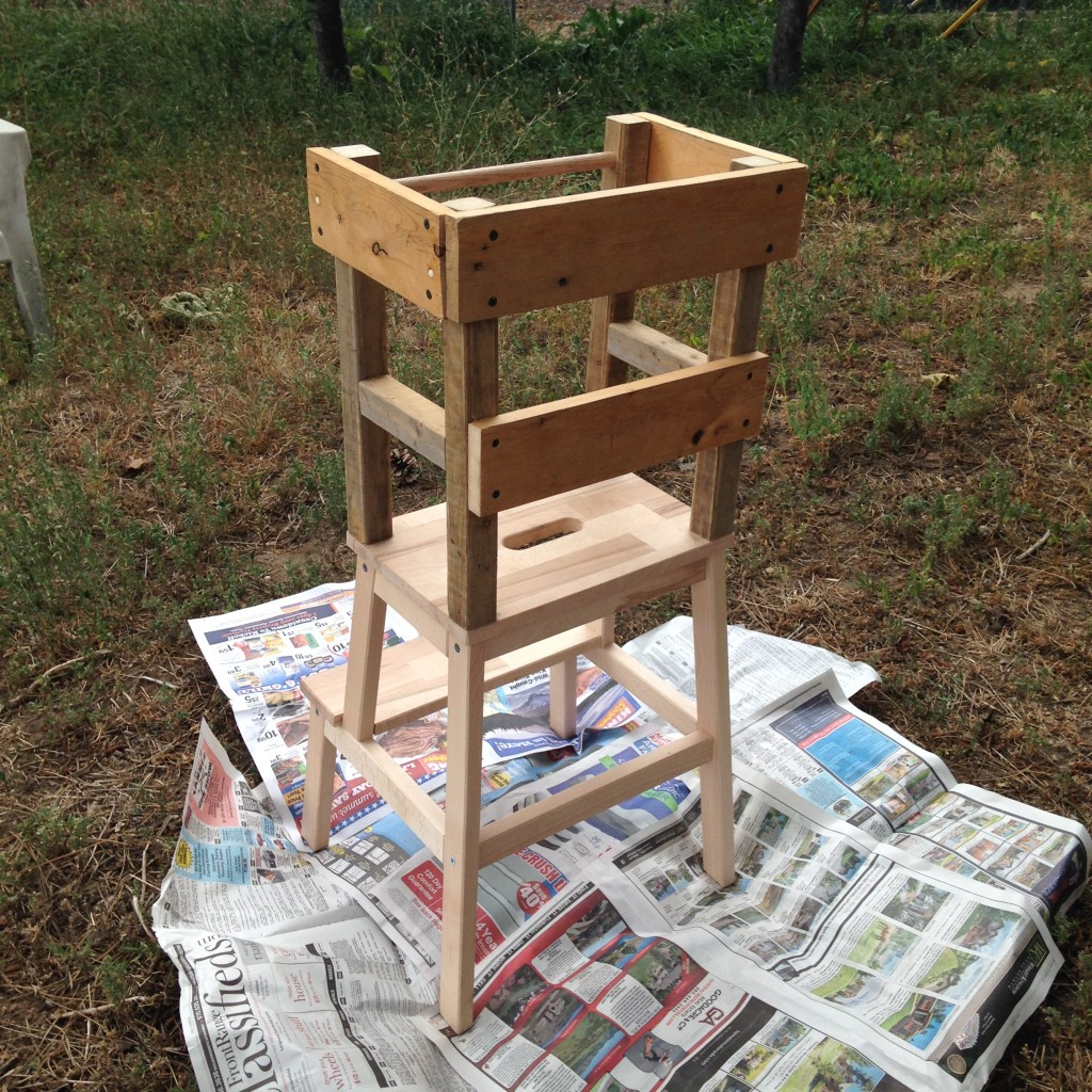With all of the rails attached, the learning tower was structurally complete. We brought it outside for painting.