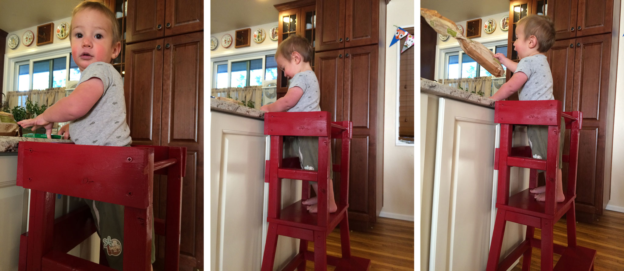 Our son immediately climbed into the learning tower and began playing with things on our kitchen island.