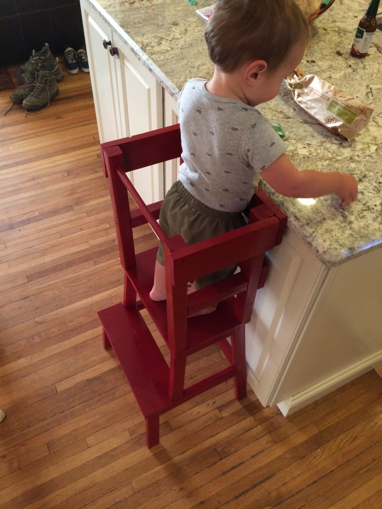 Our son seems a lot more patient while we make meals now that he can climb into his learning tower and watch!