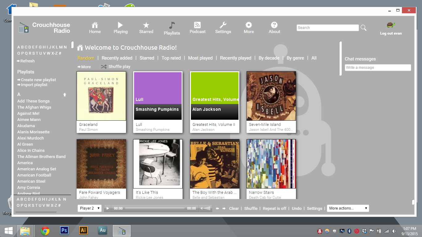 Once logged into Crouchhouse Radio, we have access to all of the music and videos shared on one of our home PCs.
